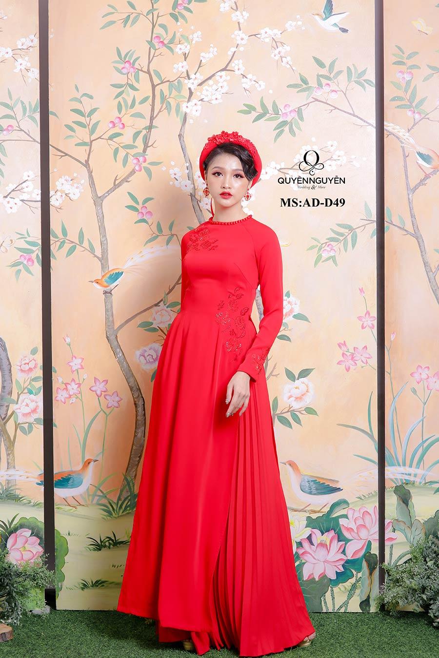 Áo dài cưới lụa đỏ AD-D49