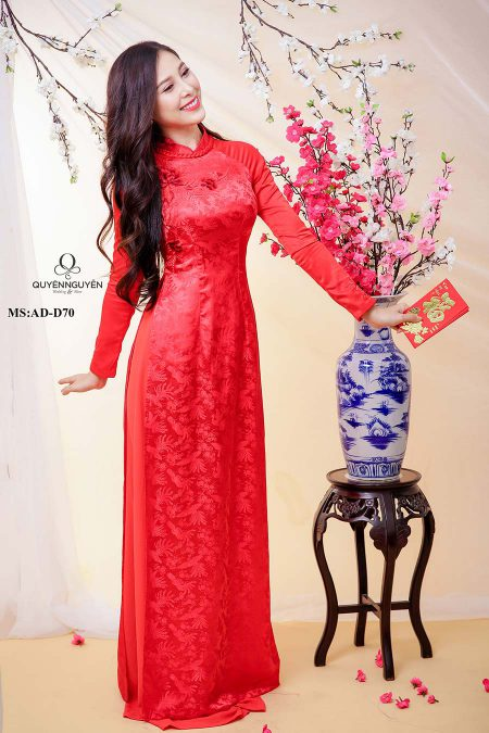 Áo dài cưới lụa đỏ AD D70