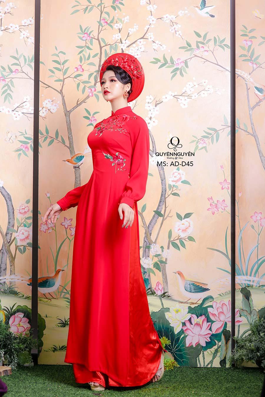 Áo dài đỏ AD D45