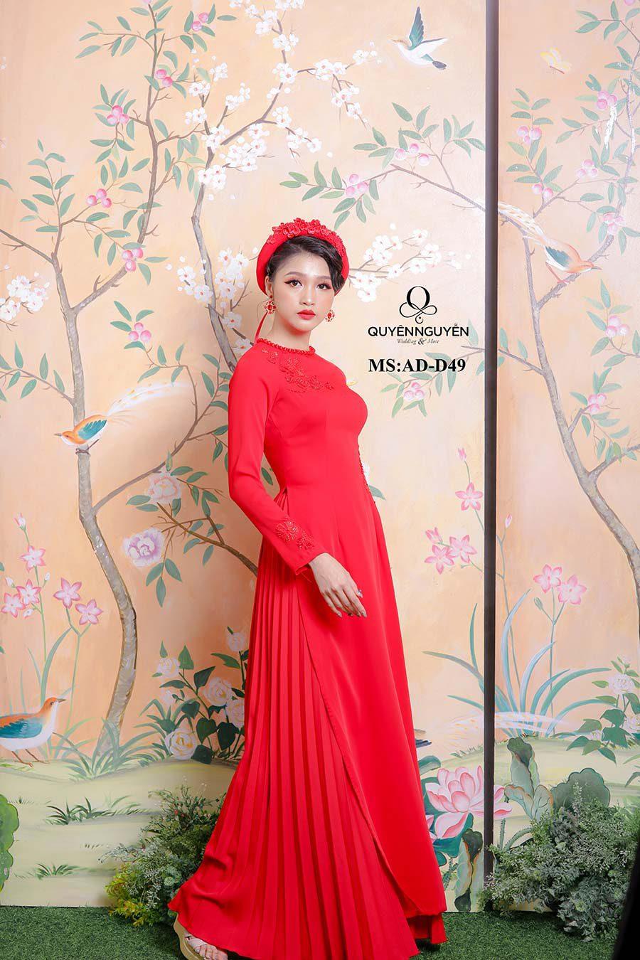Áo dài cô dâu màu đỏ ADD49