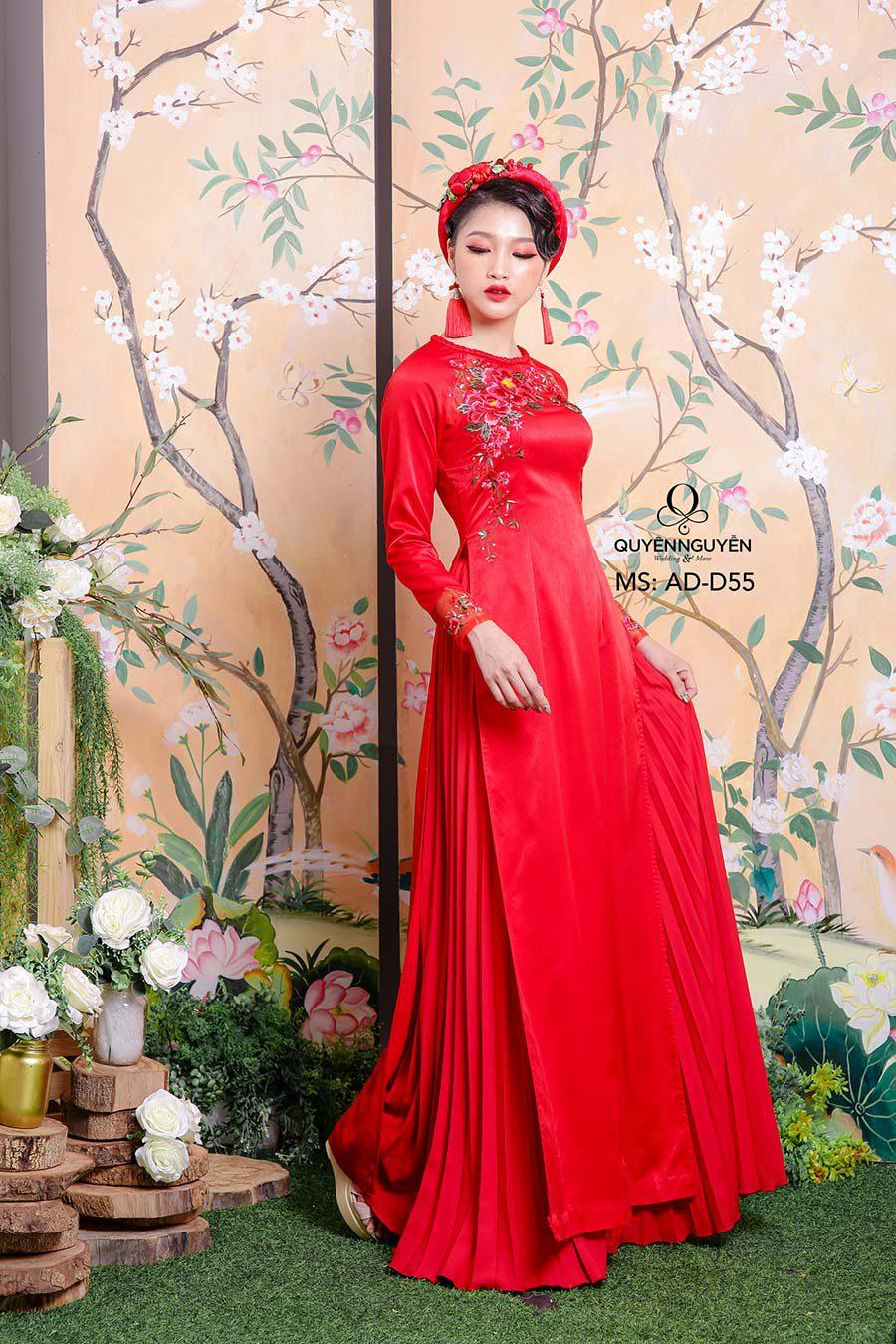 Áo dài cô dâu màu đỏ ADD55