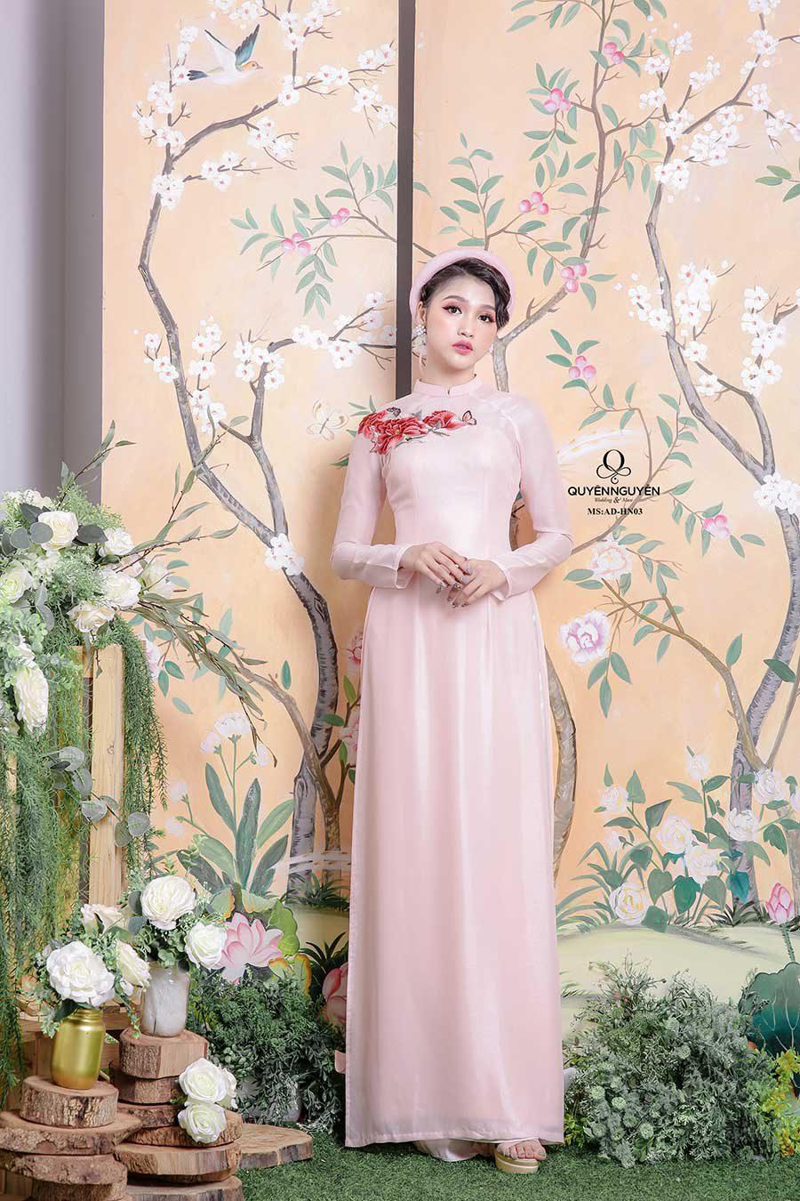 Áo dài cô dâu màu hồng ADHN03