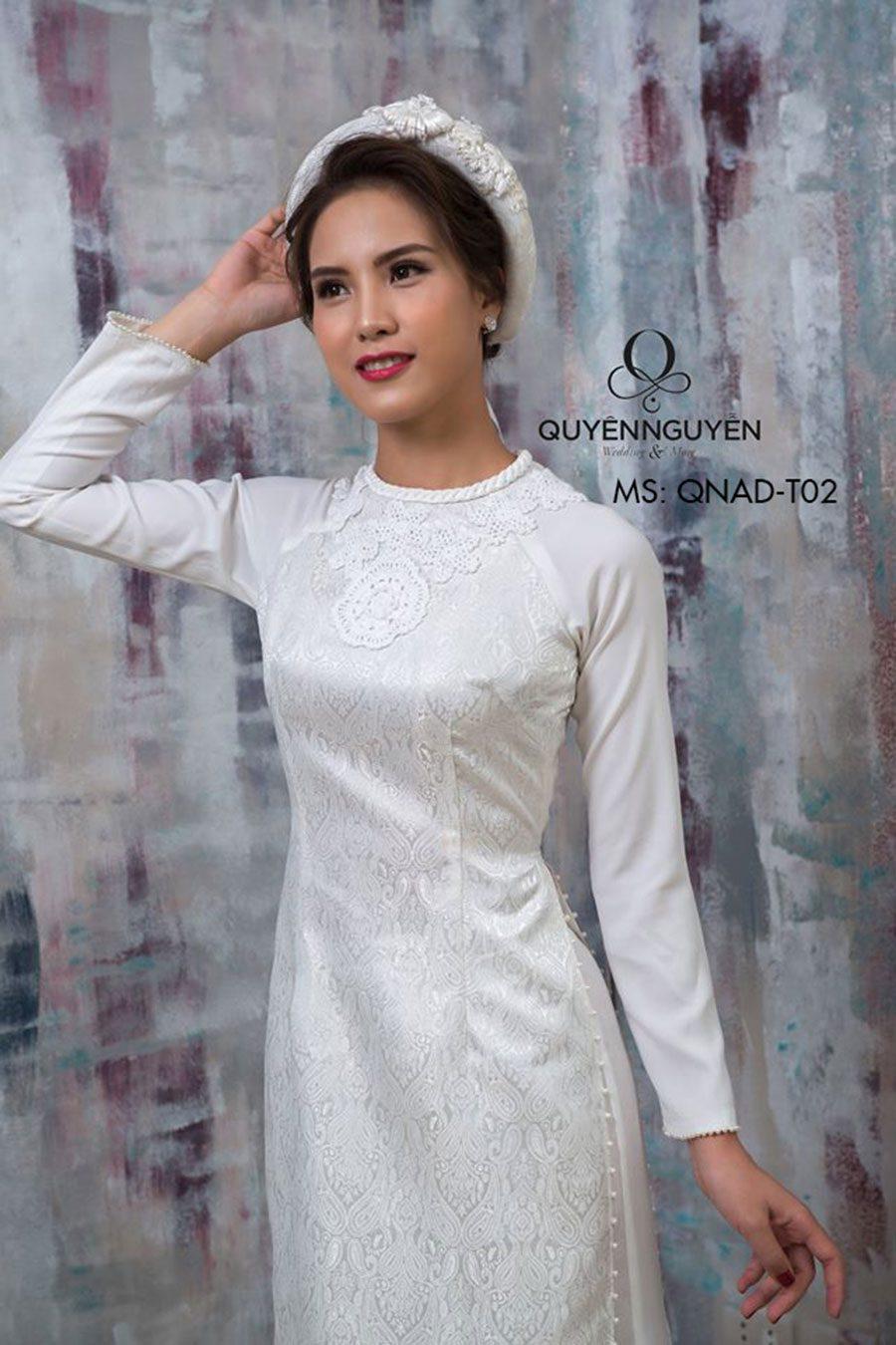 Áo dài trắng QNADT02