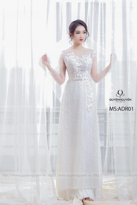 Áo dài cưới ren trắng AD R01