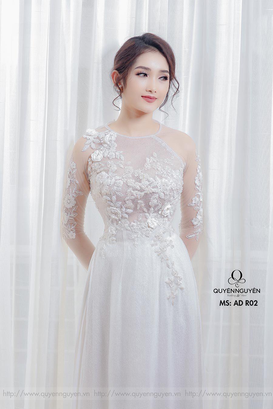 Áo dài cưới ren trắng AD R02
