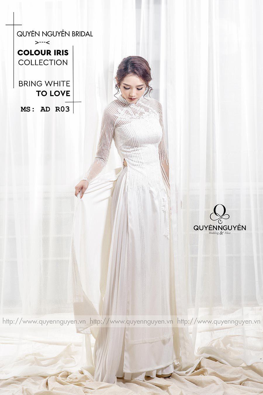 Áo dài cưới ren trắng AD R03