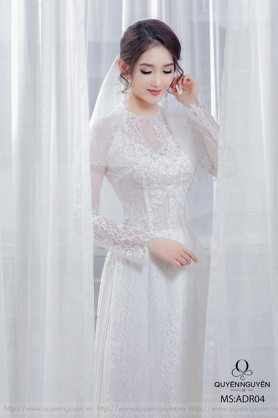 Áo dài cưới ren trắng AD R04