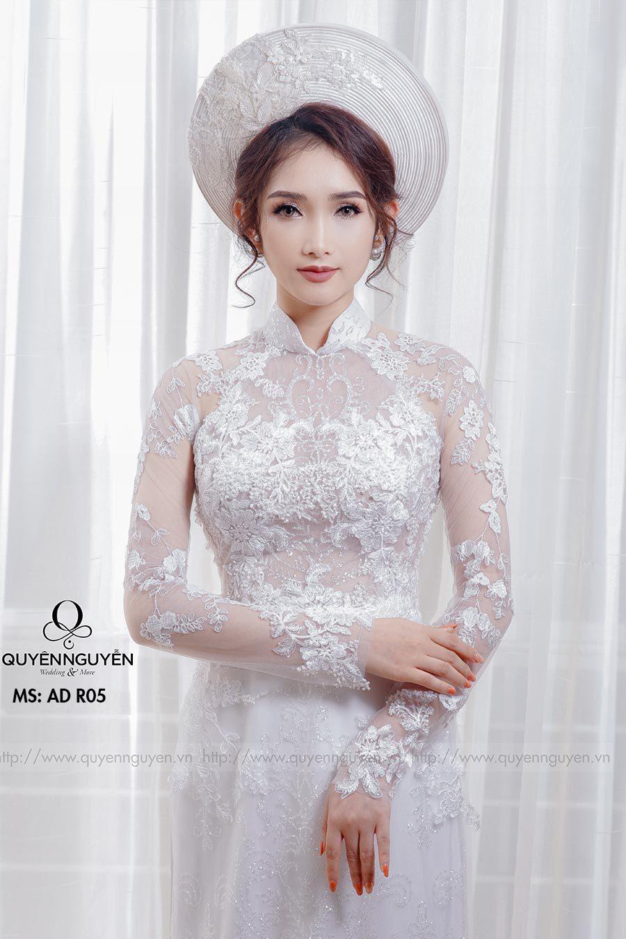 Áo dài cưới ren trắng AD R05
