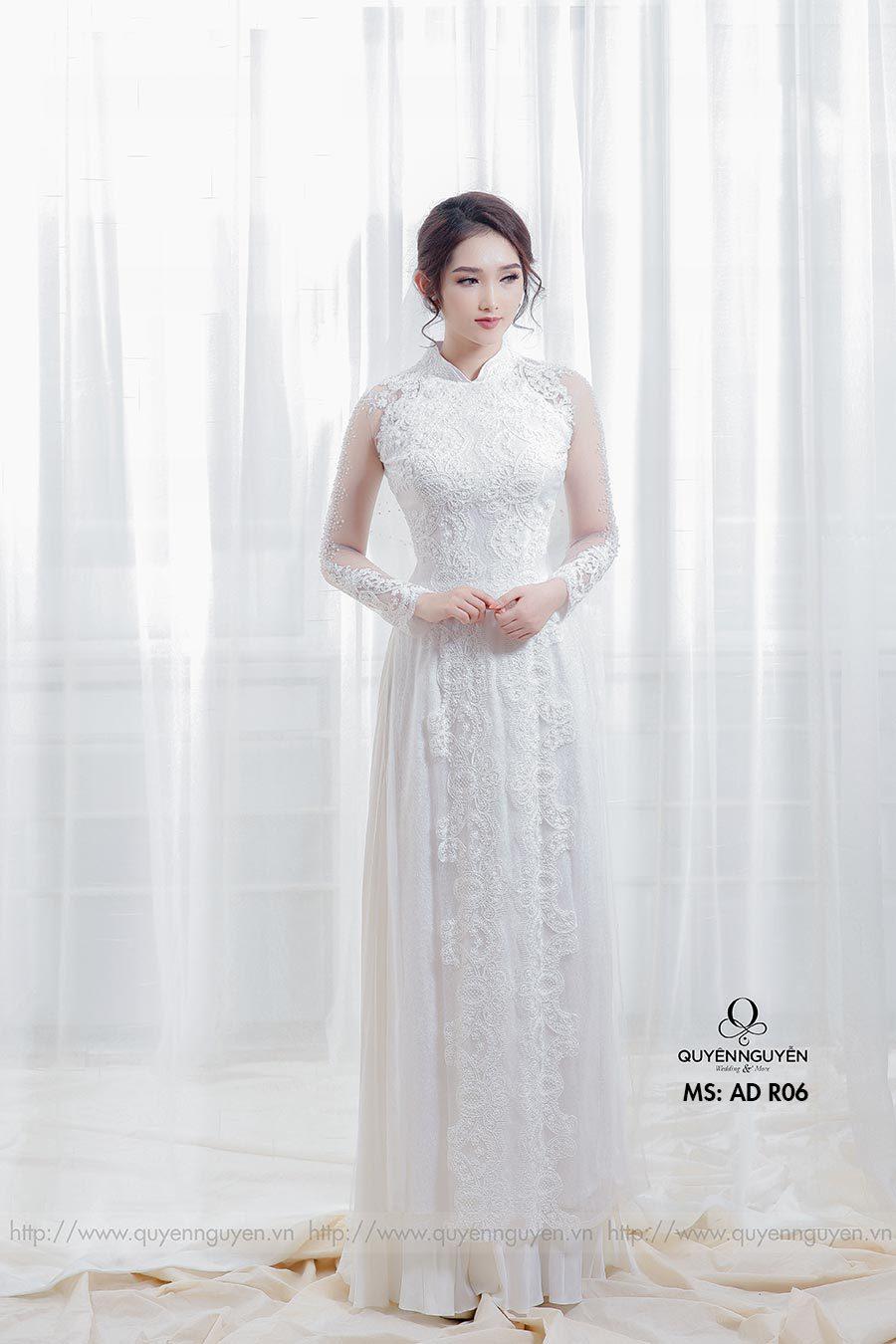 Áo dài cưới ren trắng AD R06