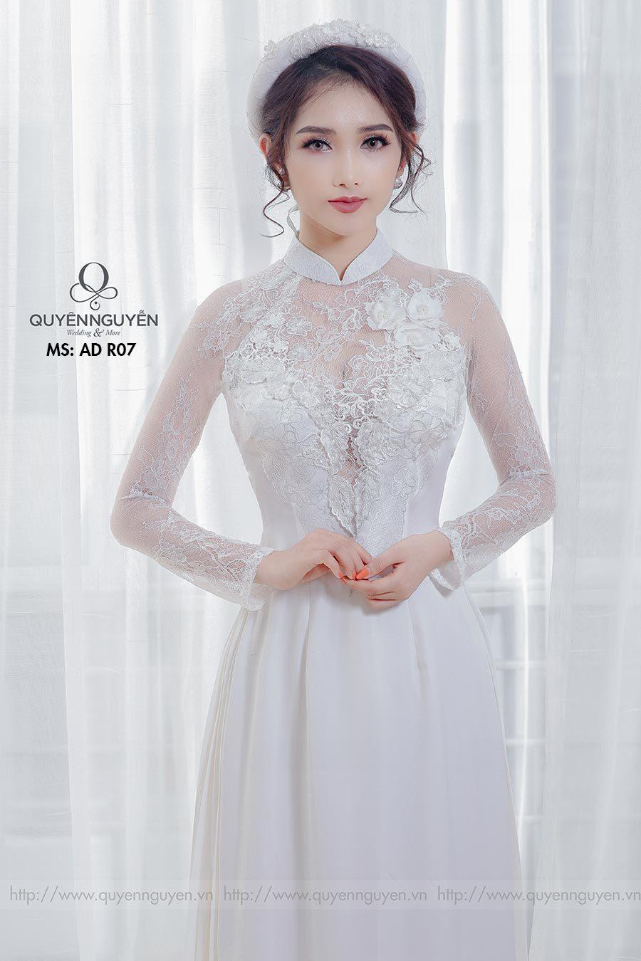 Áo dài cưới ren trắng AD R07