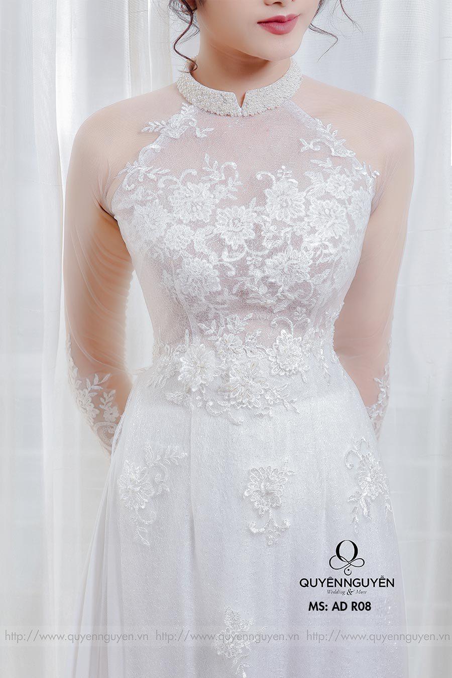 Áo dài cưới ren trắng AD R08