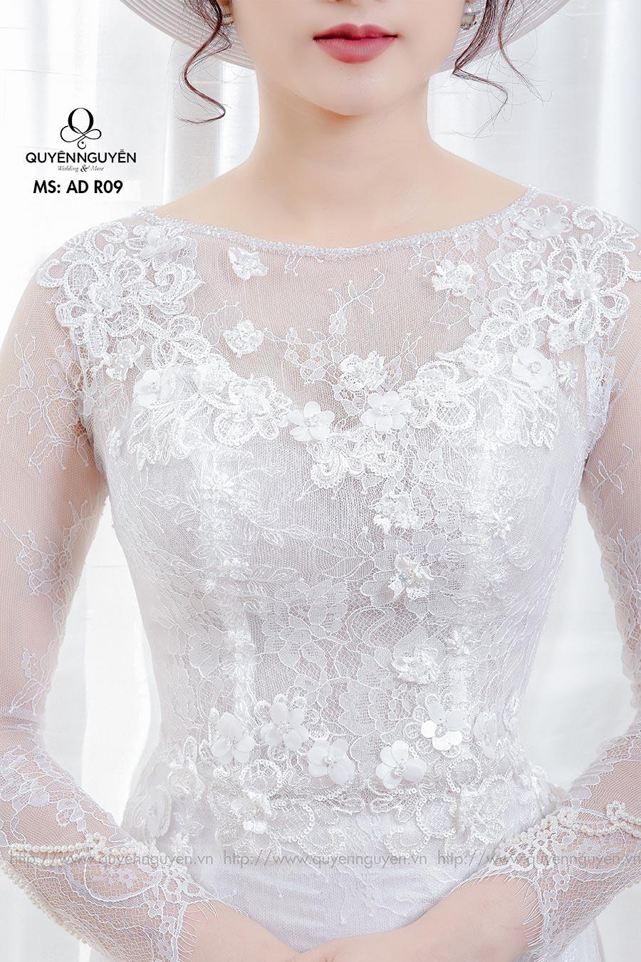 Áo dài cưới ren trắng AD R09