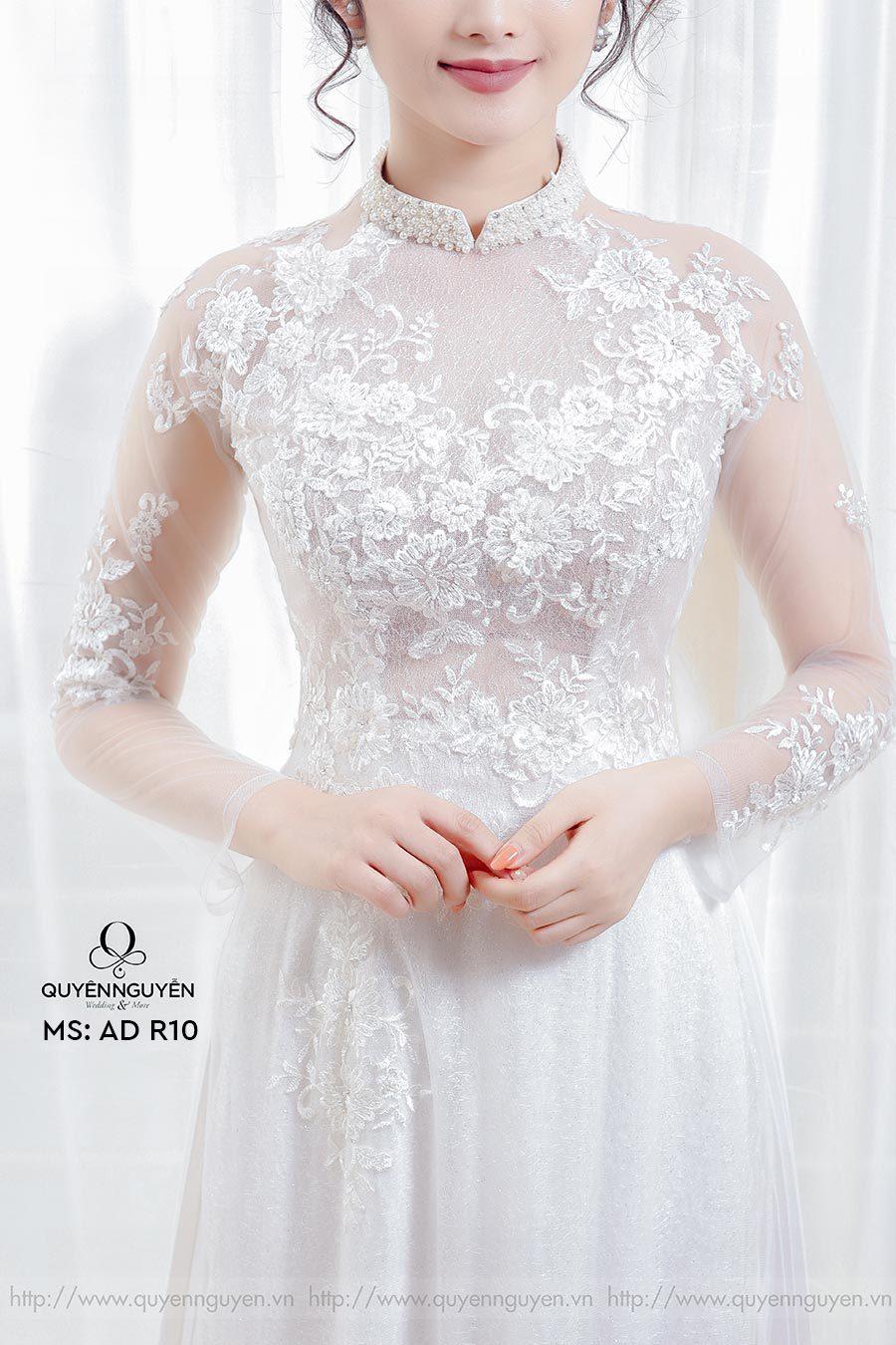Áo dài cưới ren trắng AD R10