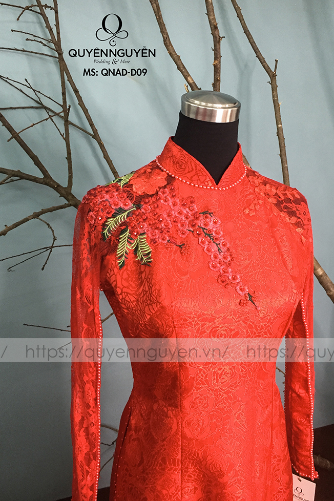 Áo dài đỏ AD D09