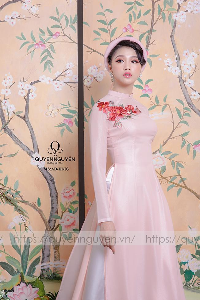 Áo dài hồng nhạt thêu hoa mẫu đơn nổi 3D