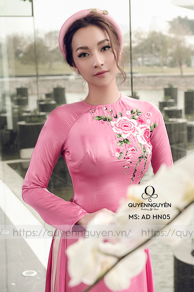 Áo dài hồng AD HN 05