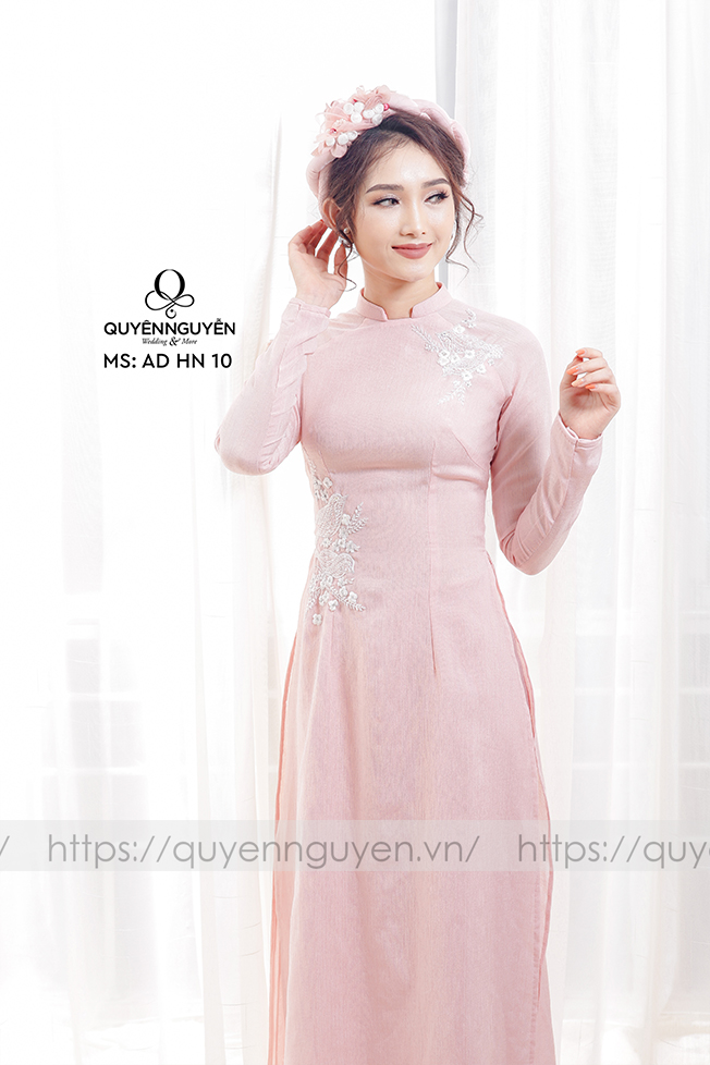 6 mẫu áo dài cưới màu hồng phấn