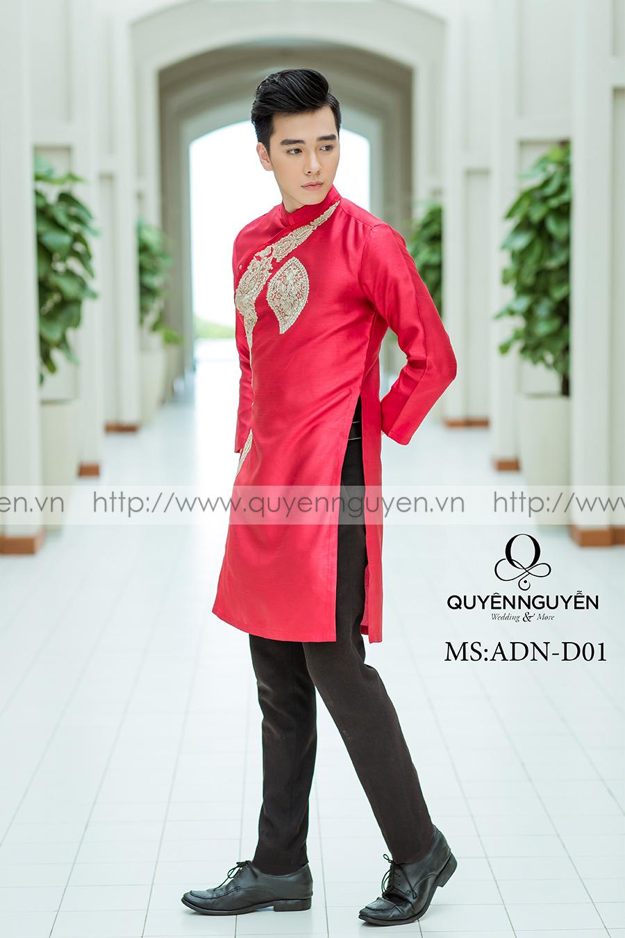 Áo dài nam đỏ ADN 01