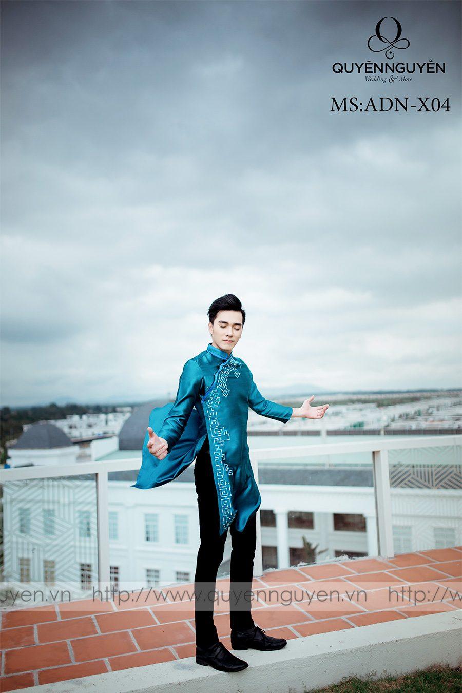 Áo dài nam màu xanh ADN X04