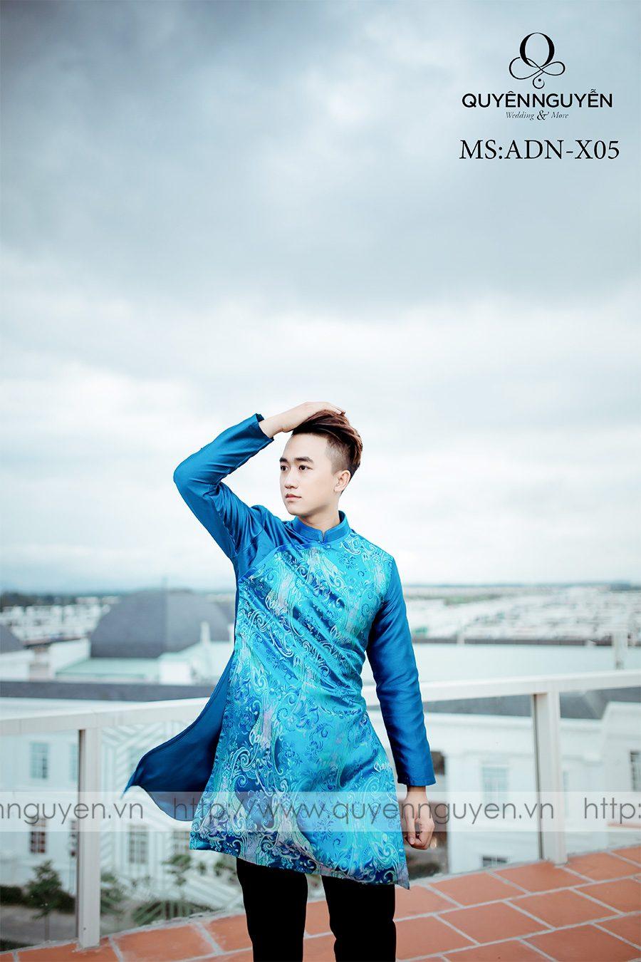 Áo dài nam màu xanh ADN X05
