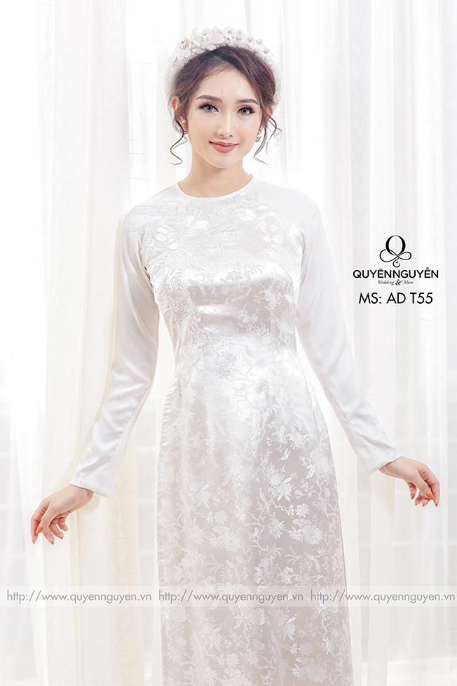 12 mẫu áo dài cưới màu trắng đẹp