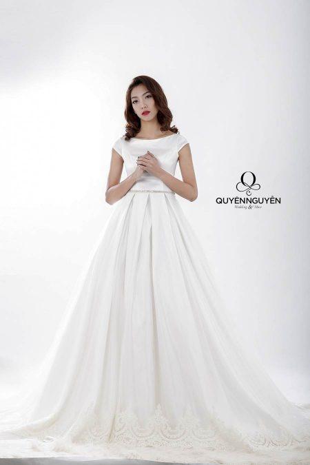 váy cưới dáng A kín đáo