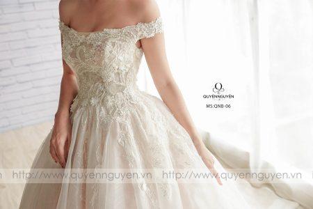 Váy cưới trễ vai dáng bồng QNB 06