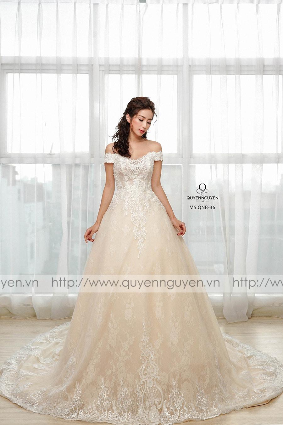 Váy cưới dáng bồng QNB36 cúp ngực