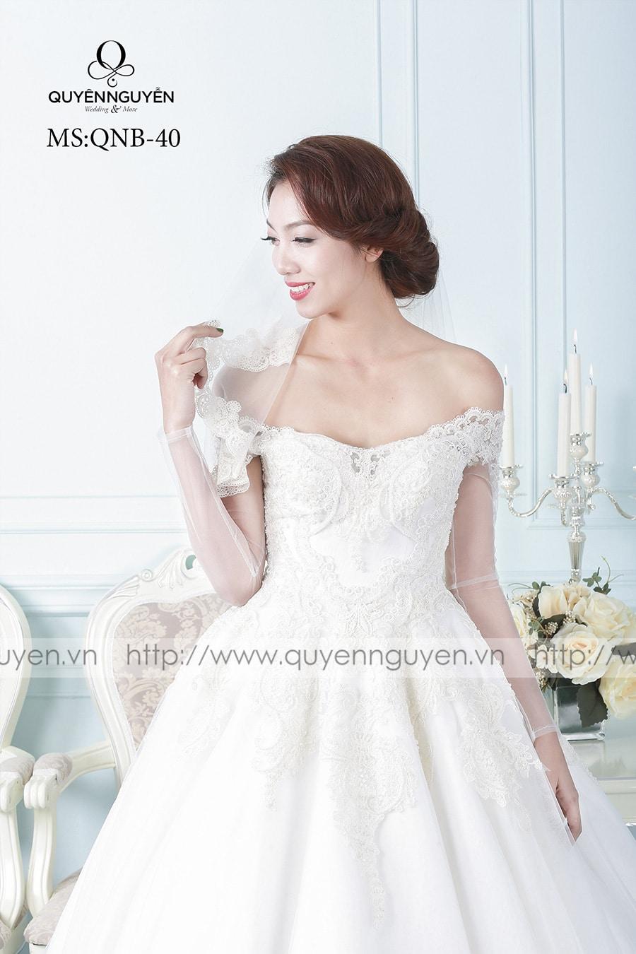 Váy cưới dáng bồng QNB40