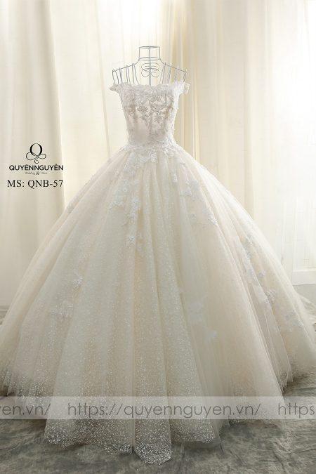 Váy cưới màu pastel dáng bồng QNB 57