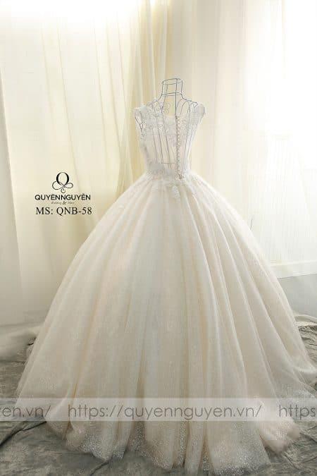 Váy cưới xòe rộng dáng bồng QNB 58