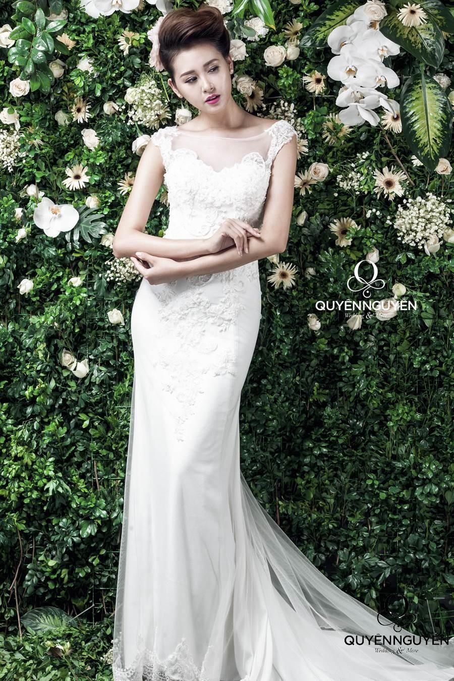Váy cưới dáng cá phong cách Hàn Quốc