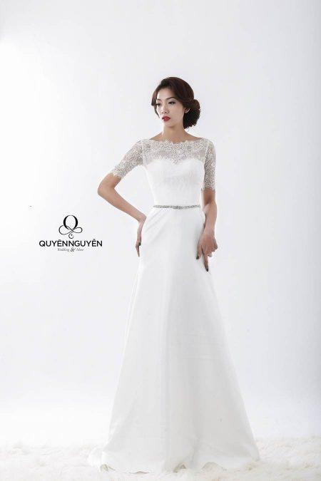 Váy cưới dáng A đơn giản