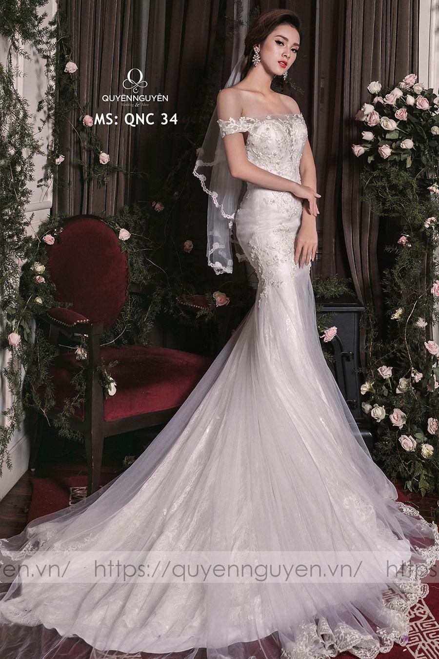 Váy cưới dáng cá QNC 34