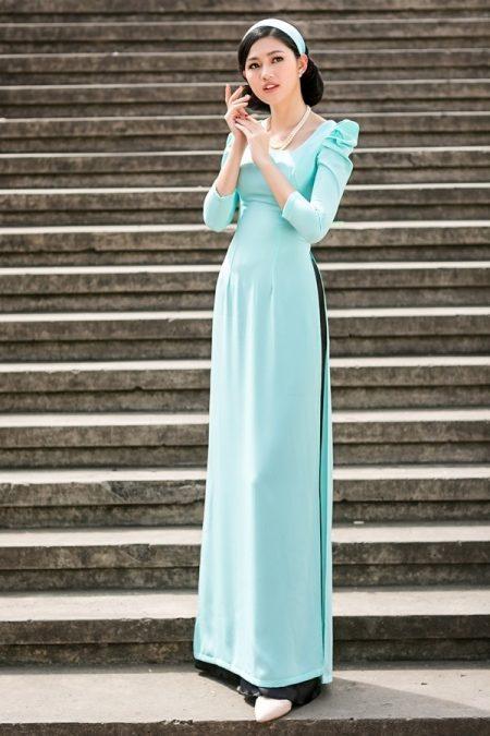 Áo dài cưới xanh