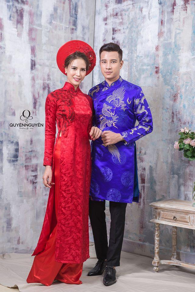 Áo dài cưới màu xanh đậm cho nam
