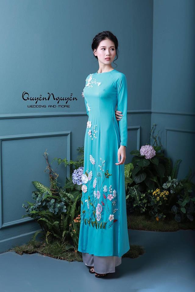 Áo dài cưới màu xanh ngọc bích