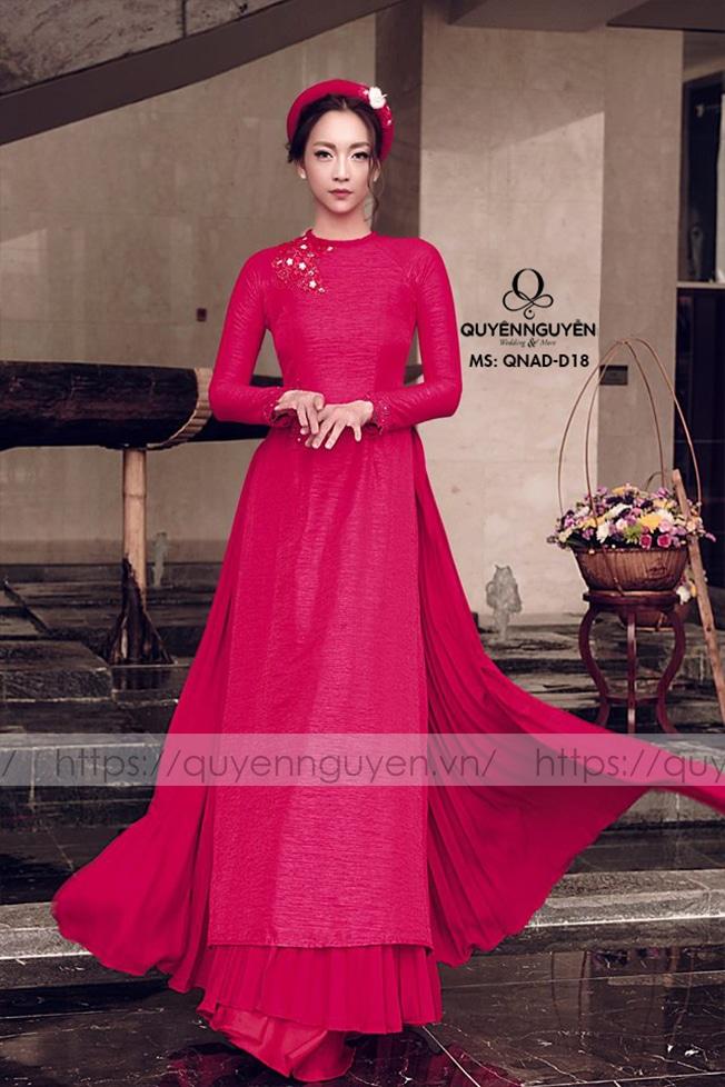 Áo dài màu đỏ AD D18