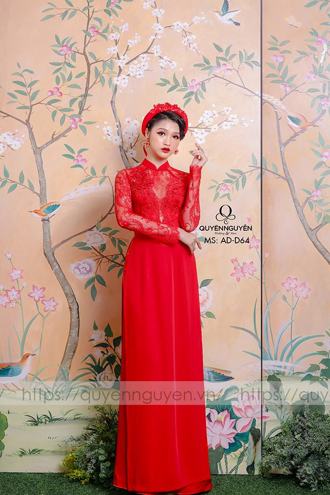 Áo dài đỏ AD D64