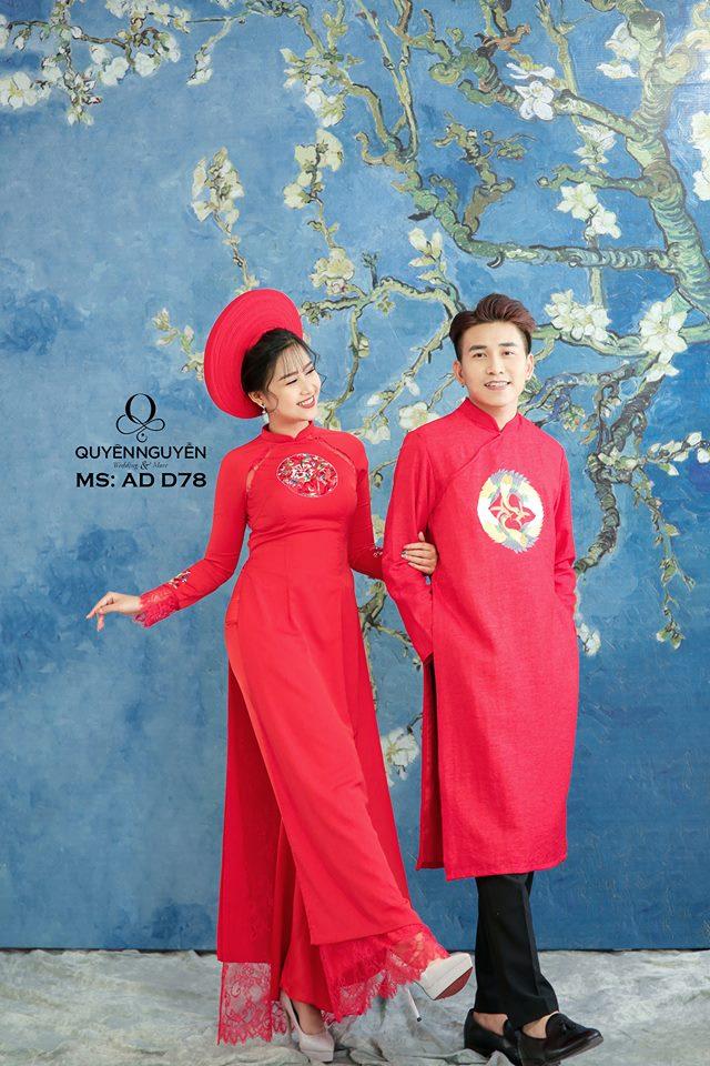 Áo dài đỏ AD D78