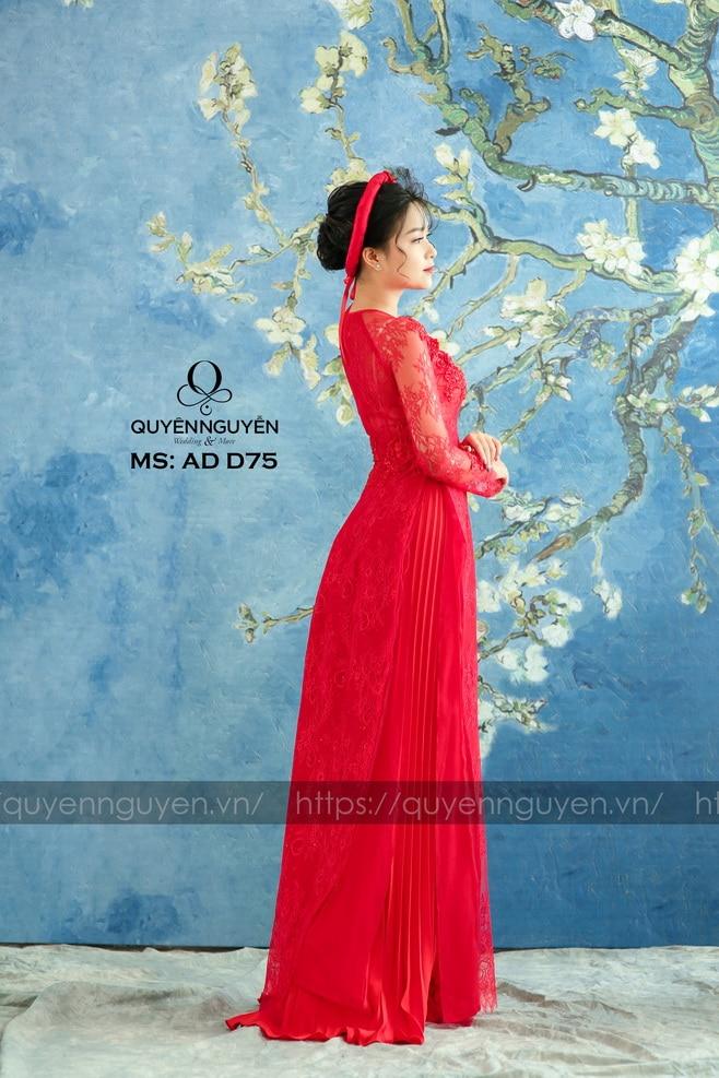 Áo dài đỏ AD D75