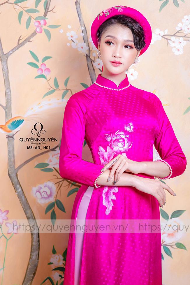 12 mẫu áo dài cưới màu hồng