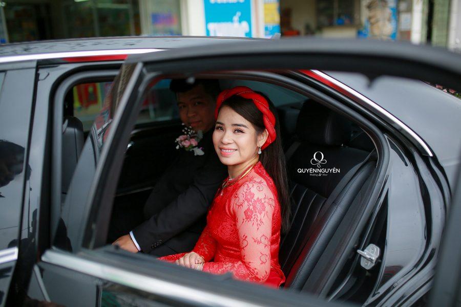 Hoạ tiết trên áo dài cưới cho cô dâu mập