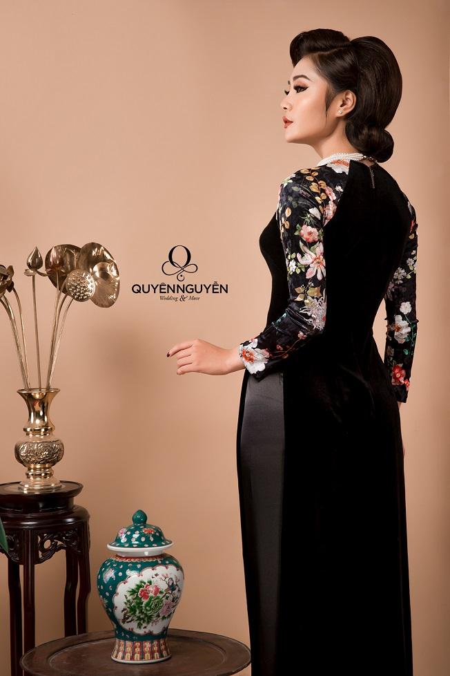 Áo dài cách tân nữ màu đen sườn xám
