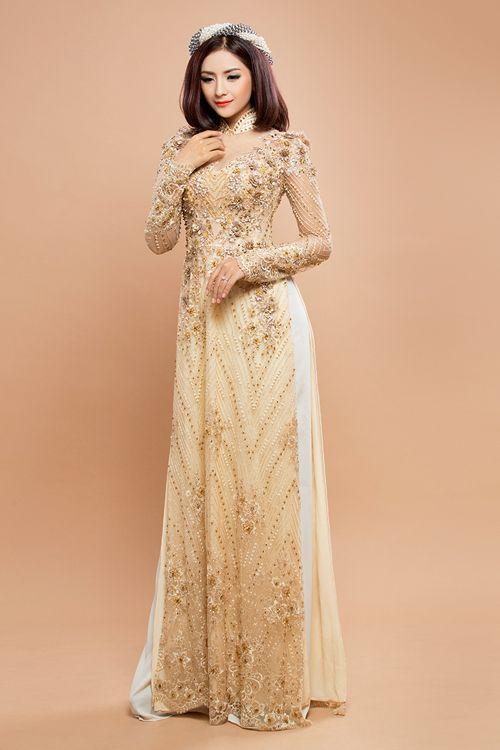 Áo dài cưới màu kem cô dâu