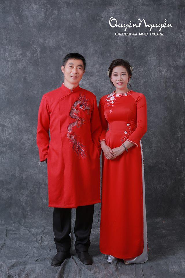 Áo dài nam màu đỏ thêu rồng