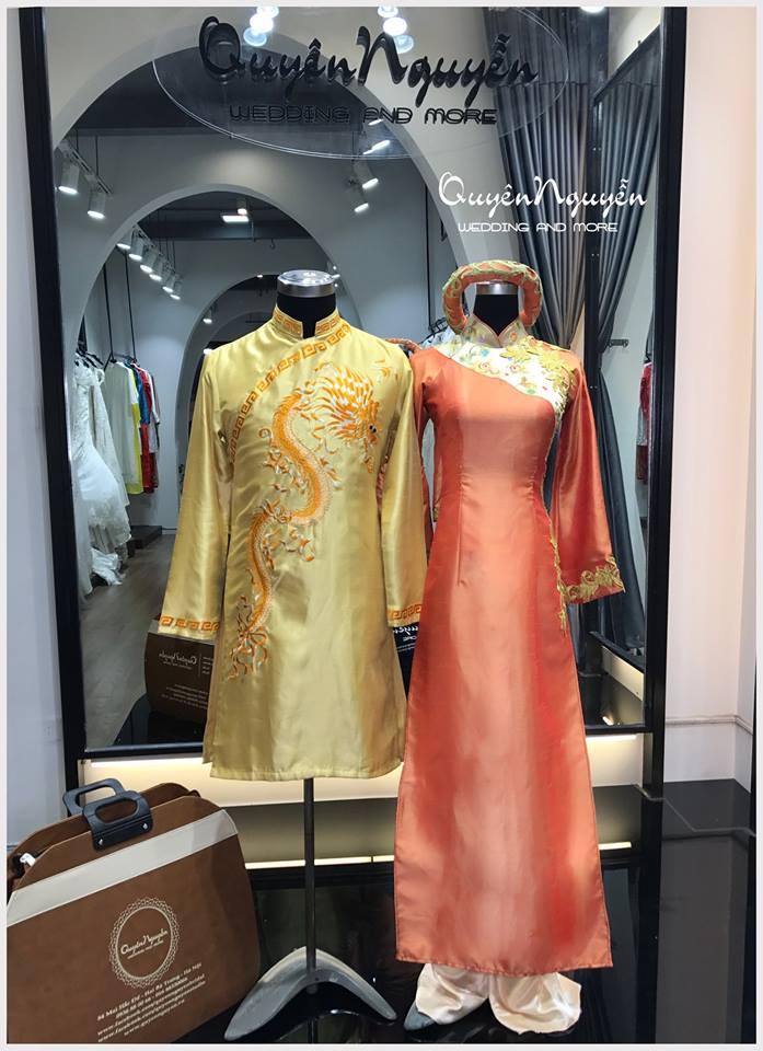 Áo dài cưới đôi đỏ vàng