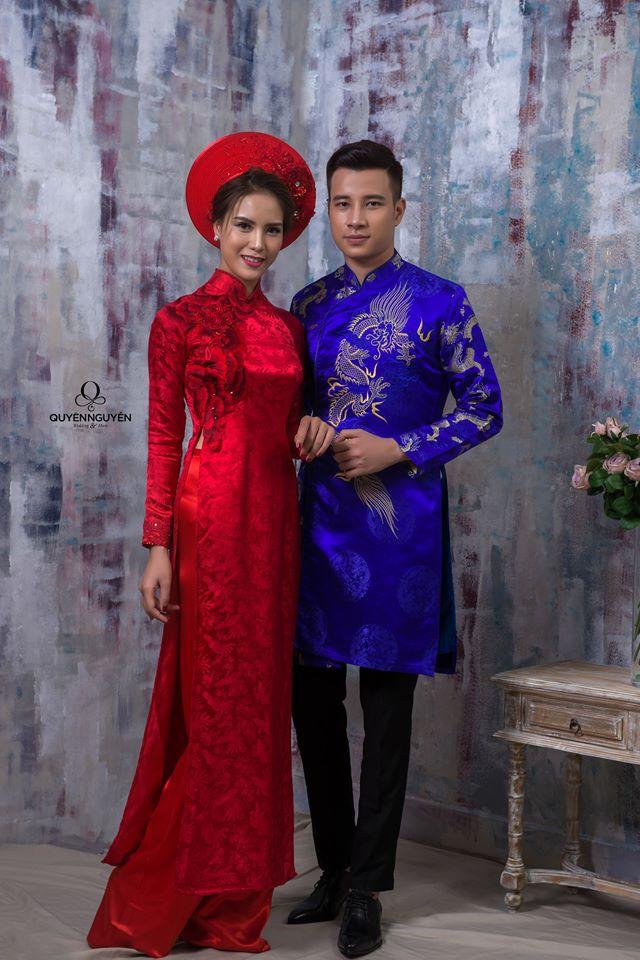 Áo dài cưới đôi đỏ và xanh