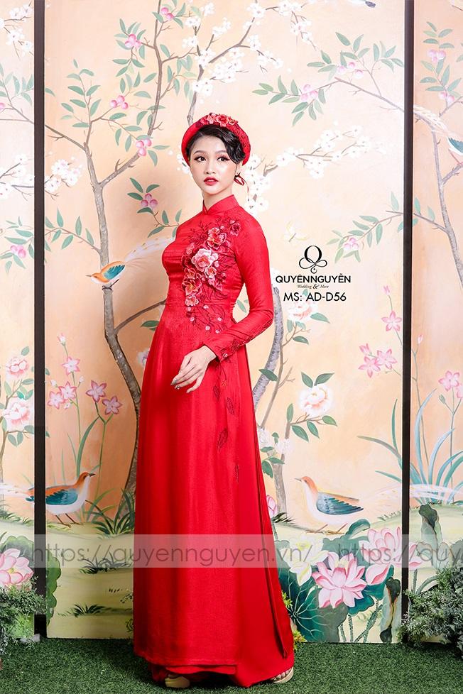 Áo dài cô dâu màu đỏ AD D56