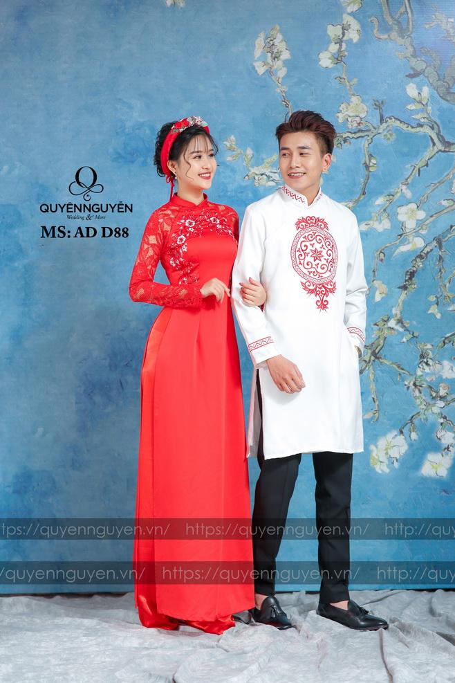 Áo dài đôi  đỏ AD D88